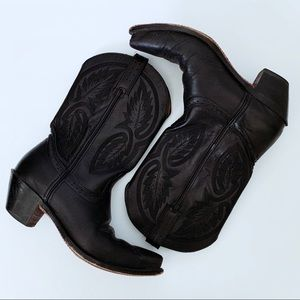 Classic Black Leather Cowboy Boots Leaves Design